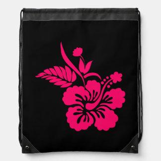 Black and Bright Pink Hawaiian Flowers Drawstring Backpack