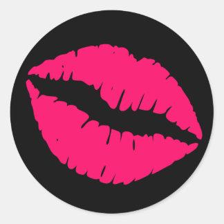 Black and Bright Pink Lipstick Print Classic Round Sticker