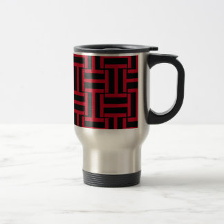 Black and Bright Red T Weave Travel Mug