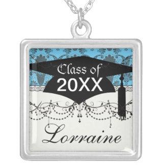 black and bright sky blue damask graduation square pendant necklace