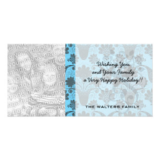 black and bright sky blue damask customized photo card