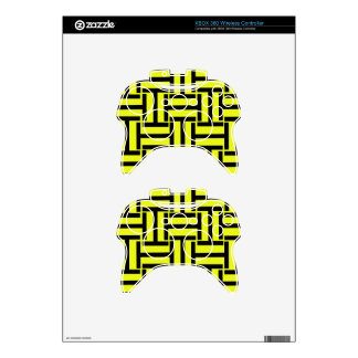 Black and Bright Yellow T Weave Xbox 360 Controller Decal