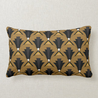 Black and Bronze Art Deco Geometric Lumbar Pillow