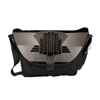 Black and Bronze Art Deco Tower Messenger Bag