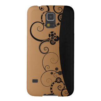 Black and brown abstract swirls design galaxy s5 case