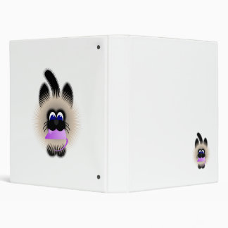 Black And Brown Cat Carrying A Pale Purple Mouse Vinyl Binders
