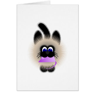 Black And Brown Cat Carrying A Pale Purple Mouse Greeting Card