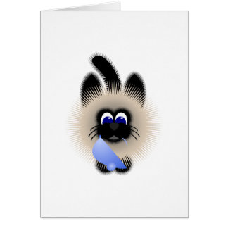 Black And Brown Cat Holding A Pale Blue Mouse Card