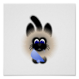 Black And Brown Cat Holding A Pale Blue Mouse Poster