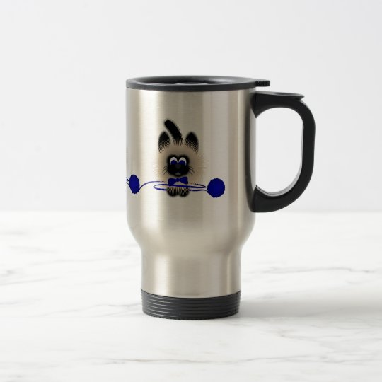 Black And Brown Cat With Dark Blue Tie And Yarn Travel Mug