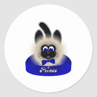 Black And Brown Cat With Dark Blue Tie In A Bed Classic Round Sticker