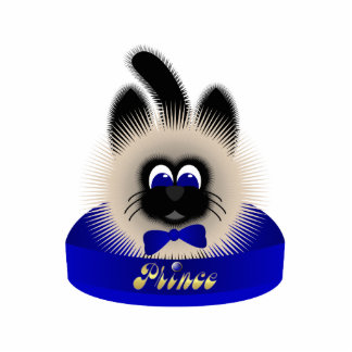 Black And Brown Cat With Dark Blue Tie In A Bed Photo Sculpture Ornament