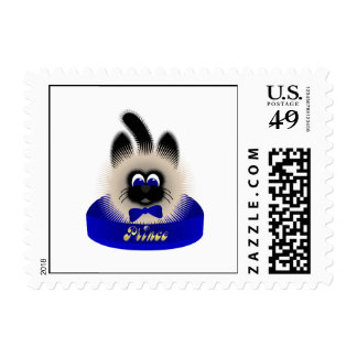Black And Brown Cat With Dark Blue Tie In A Bed Postage Stamps