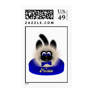 Black And Brown Cat With Dark Blue Tie In A Bed Postage