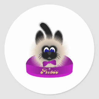 Black And Brown Cat With Dark Purple Tie In A Bed Classic Round Sticker