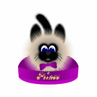 Black And Brown Cat With Dark Purple Tie In A Bed Photo Sculpture Ornament