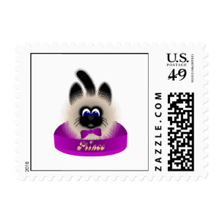 Black And Brown Cat With Dark Purple Tie In A Bed Stamp