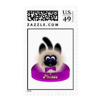 Black And Brown Cat With Dark Purple Tie In A Bed Postage Stamps