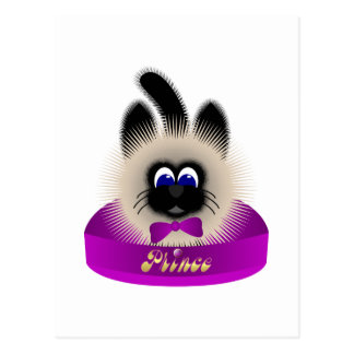 Black And Brown Cat With Dark Purple Tie In A Bed Post Cards