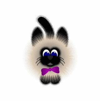 Black And Brown Cat With Dark Purple Tie Photo Sculpture Ornament