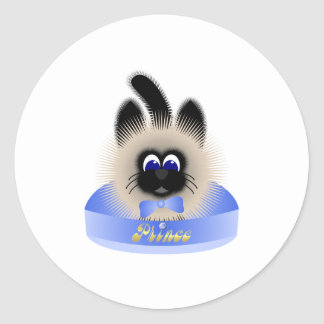 Black And Brown Cat With Pale Blue Tie In A Bed Classic Round Sticker