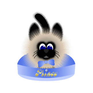 Black And Brown Cat With Pale Blue Tie In A Bed Photo Sculpture Ornament
