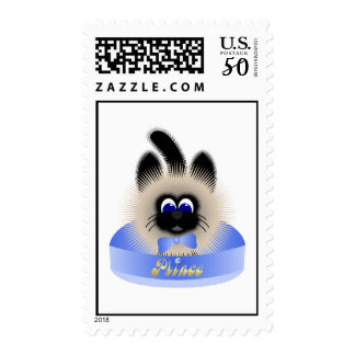 Black And Brown Cat With Pale Blue Tie In A Bed Postage