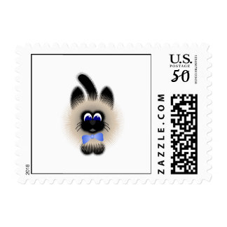 Black And Brown Cat With Pale Blue Tie Postage