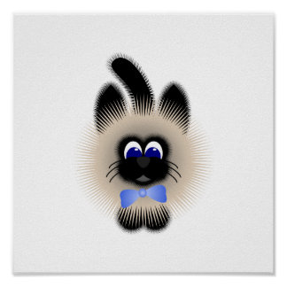 Black And Brown Cat With Pale Blue Tie Poster