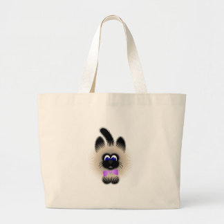 Black And Brown Cat With Pale Purple Tie Tote Bags