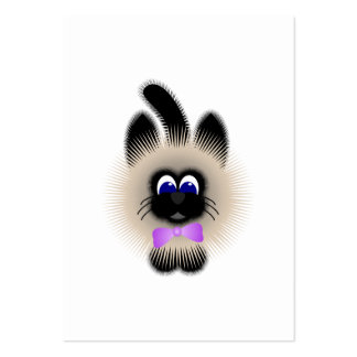 Black And Brown Cat With Pale Purple Tie Business Card Templates