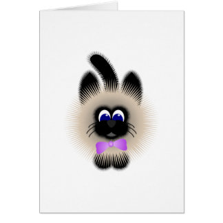Black And Brown Cat With Pale Purple Tie Card