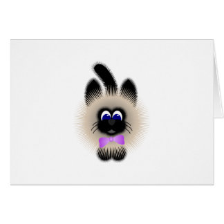 Black And Brown Cat With Pale Purple Tie Greeting Card