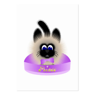 Black And Brown Cat With Pale Purple Tie In A Bed Business Cards