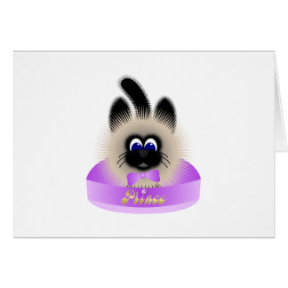 Black And Brown Cat With Pale Purple Tie In A Bed Card