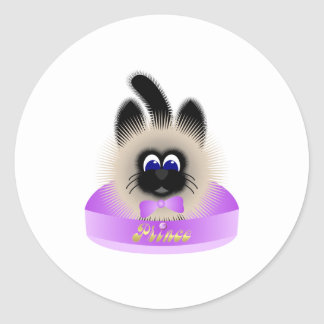 Black And Brown Cat With Pale Purple Tie In A Bed Classic Round Sticker