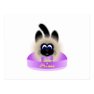 Black And Brown Cat With Pale Purple Tie In A Bed Post Card