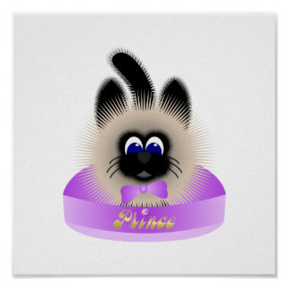 Black And Brown Cat With Pale Purple Tie In A Bed Poster
