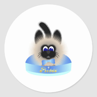 Black And Brown Cat With Pastel Tie In A Bed Classic Round Sticker