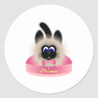 Black And Brown Cat With Pink Tie In A Bed Classic Round Sticker