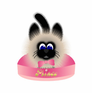 Black And Brown Cat With Pink Tie In A Bed Photo Sculpture Ornament