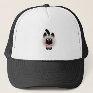 Black And Brown Cat With Pink Tie Trucker Hat