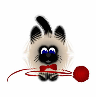 Black And Brown Cat With Red Tie And Yarn Photo Sculpture Ornament