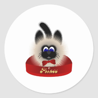 Black And Brown Cat With Red Tie In A Bed Classic Round Sticker