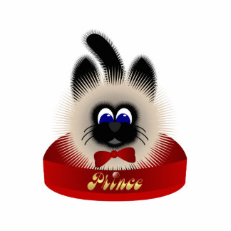 Black And Brown Cat With Red Tie In A Bed Photo Sculpture Ornament