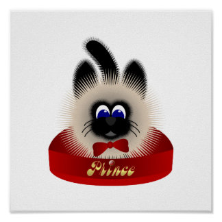 Black And Brown Cat With Red Tie In A Bed Poster