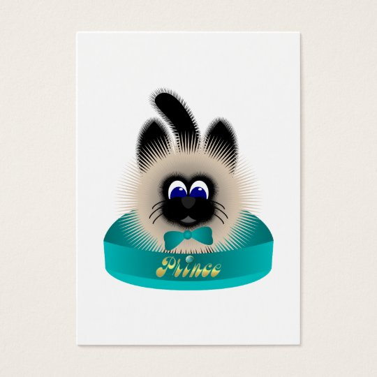 Black And Brown Cat With Teal Tie In A Bed Business Card