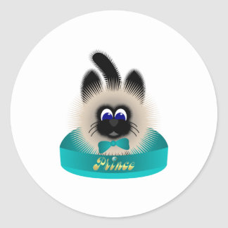 Black And Brown Cat With Teal Tie In A Bed Classic Round Sticker