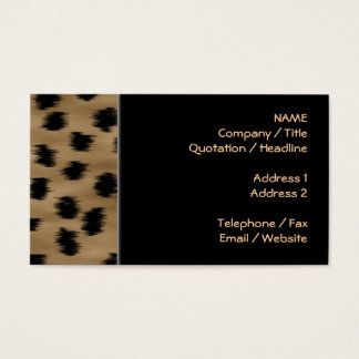 Black and Brown Cheetah Print Pattern. Business Card