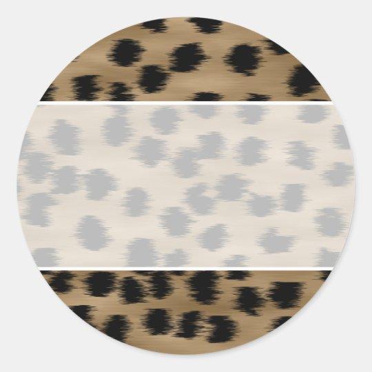 Black and Brown Cheetah Print Pattern. Classic Round Sticker